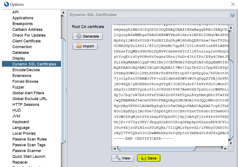 OWASP ZAP dynamic SSL Certificate