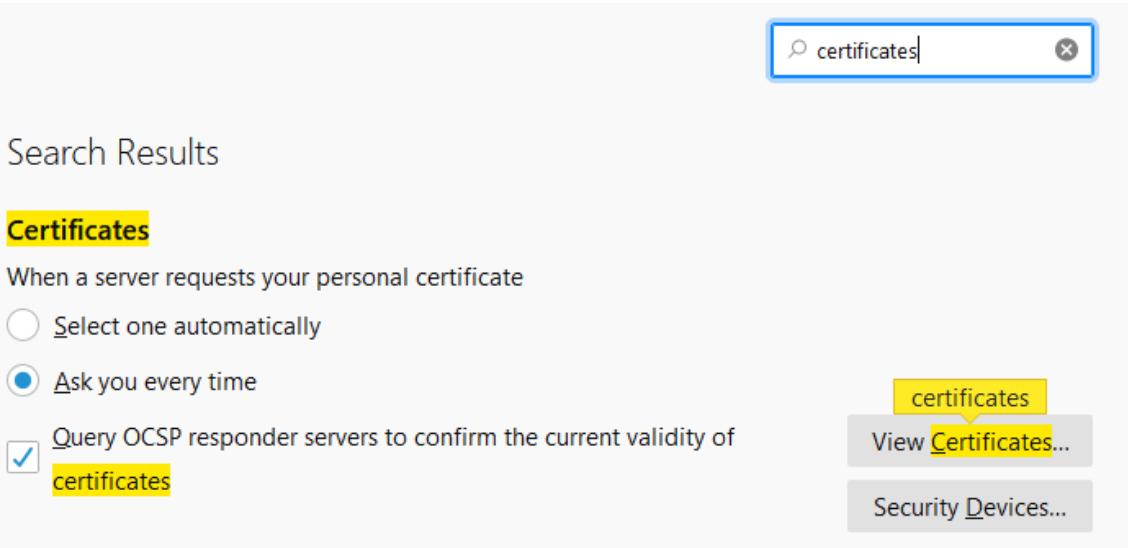 Firefox Certificate Settings